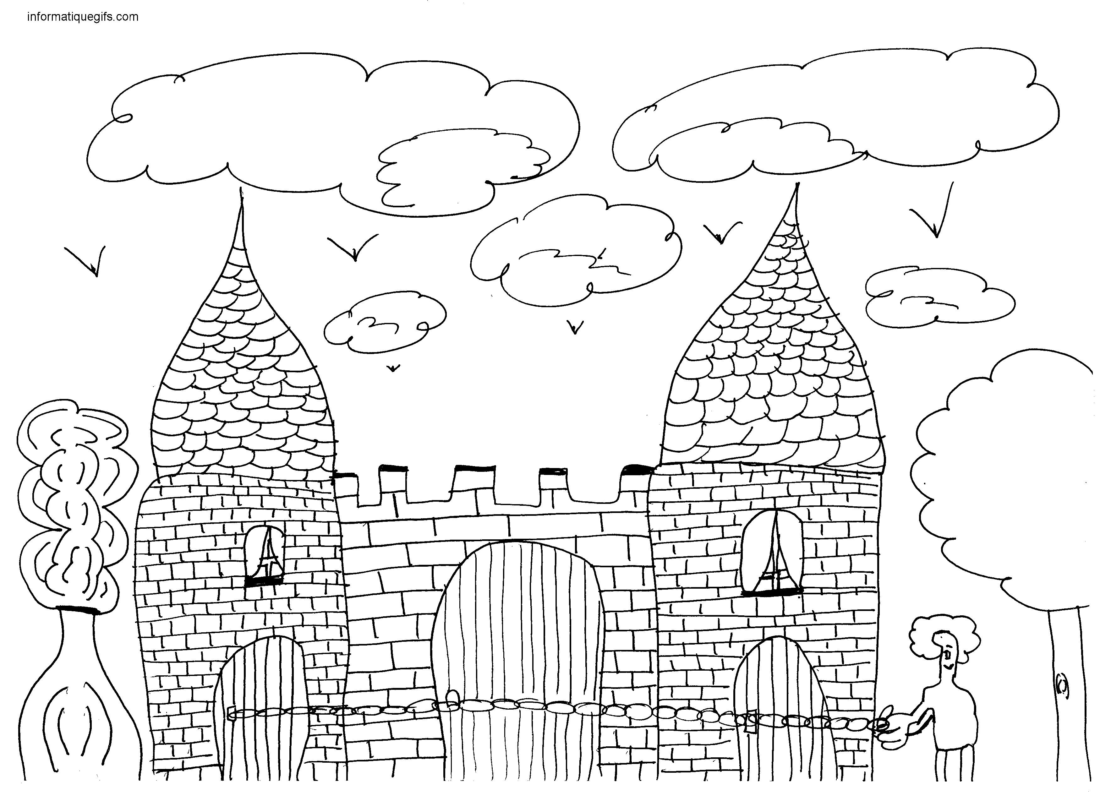 Dessin de ch teau - Coloriage de chateau fort ...