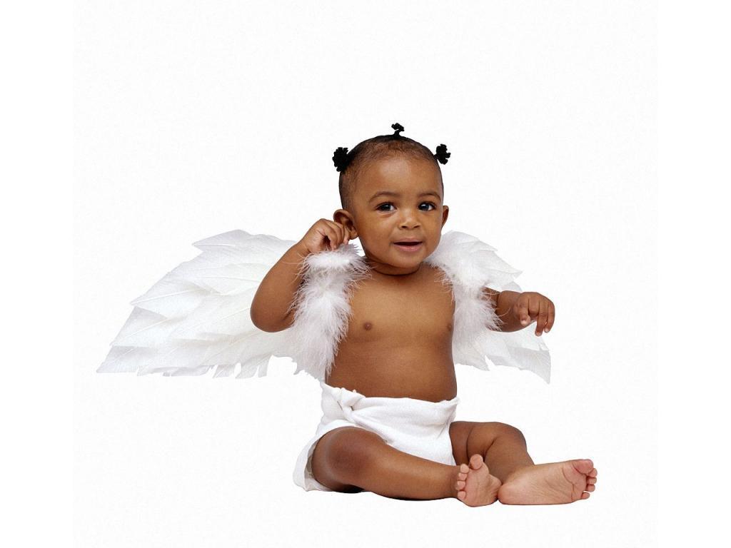Ange noir et blanc a mettre en tant qu 39 cran de fond a for Fond ecran bebe
